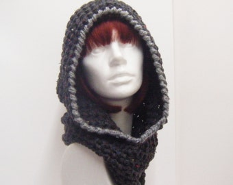 Charcoal Crochet Hooded Cowl with Silver Grey Trim
