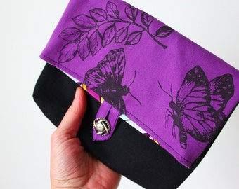 Foldover Pouch/Clutch Butterfly leaves screen print, purple twill, black vintage lace Bridesmaids ~Ready to ship