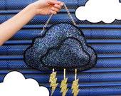 Glitter Storm Cloud Clutch Handbag