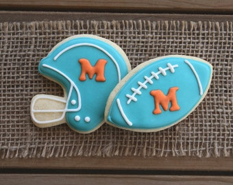 Football Cookies / Helmet Cookies / Football Party / Football Favor / Football Birthday / Football Team / Football Wedding / Wedding Favors