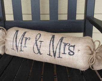 Mr & Mrs Pillow, Burlap Pillow, Burlap Wedding Pillow, Wedding Gift, Neck Roll Pillow, Rustic Pillow, Mr and Mrs Pillow, Your Divine Affair