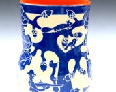 Sgraffito Decorated FOLK ART Style VASE Large Oak Tree, Hunter, Dog and Bunny Porcelain Pottery Sgraffito Carved