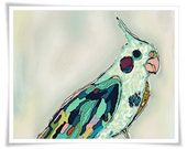 bird art painting cockatiel abstract pretty pastel abstract mint teal pink purple vancouver artist melissa thorpe