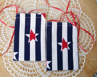 Nautical CELLPHONE POUCH Americana Stars & Stripes Cell Bag Android Iphone Necklace - Ships free in US