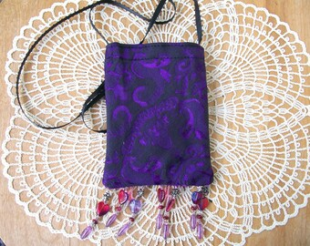 Mystic Purple CELLPHONE POUCH Metallic Shine with Beaded Fringe Cell Bag Android Iphone Necklace - Ships free in US