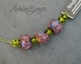 Bright Flower Garden, purple rounds Lampwork bead set (3 plus 6 spacers) SRA