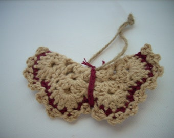 Crocheted butterfly country christmas sand and burgundy