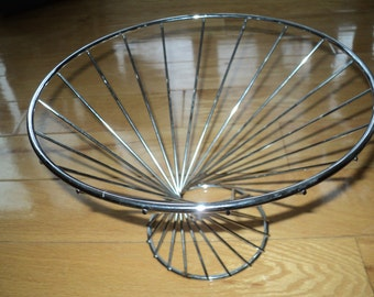 Vintage Mid Century Mod Space Age Style Chrome Covered Metal  Bowl and/or Basket with great sculptural lines, design In Very Good Condition
