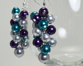 Gray, Purple and Teal Cluster Earrings, Gray Chunky Earrings, Purple, Teal and Gray Wedding Combo, Purple Pearl Jewelry, Gray Pearl Earrings
