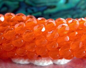 4mm Fire Polished Beads, Czech Glass Firepolished Beads, Hyacinth Beads, Orange Beads, 4mm Faceted Beads CZ-504