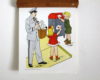 vintage classroom posters 1950's People in the Neighborhood--the Mailman--Hayes School Publishing Co.