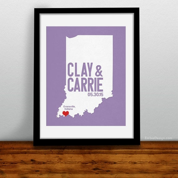 Indiana Personalized Wedding Art, State Map Print, Bride & Groom Names and Date, Any State Available, Choice of Colors