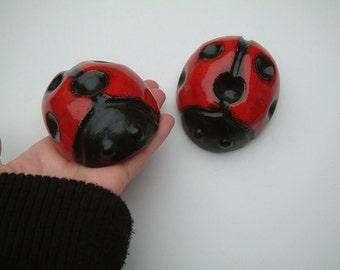 Vintage two ceramic ladybugs,black red ladybug home decor, gift