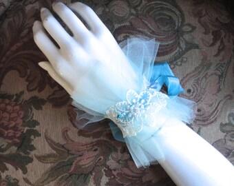 Turquoise Cuff, Blue Wedding Cuff, Lace Cuff, Bridal Cuff, Cuff Bracelet, Handmade One of A Kind, Embellished Cuff, Something Blue Lacy Cuff