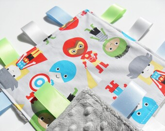 Taggie Baby Super Hero Fabric Silver Minky toddler comforter taggy blanket - baby taggies - Lovey comforter