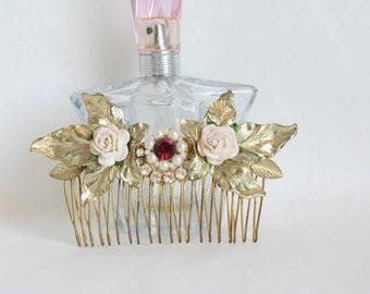 Bridal Hair Com ,Wedding Gold Head Piece Bridal side Comb Vintage Bridal Gold Hair Comb Ruby Hair Piece Accessories Vintage Hair Jewelry