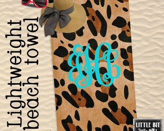 Personalized Beach Towel Animal Print Turquoise Monogrammed Towel 30x60 Poly/Cotton