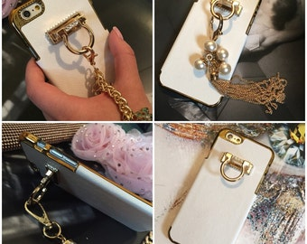 Brazalete Stylish Pearl Gold Tassel Chain Diamond Ring Wristlet Wrist Lanyard Design Hook Stand Jewelry Cover Charm Case For SE 5S