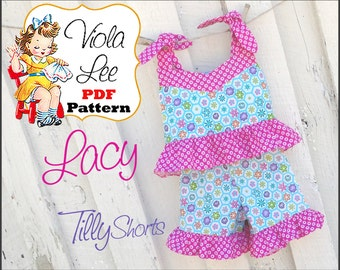 Lacy...  Girl's Top Pattern, Girl's PDF Sewing Pattern. Toddler Sewing Pattern. Pair with Ruffle Pants or Ruffle Shorts. Toddler Pattern.