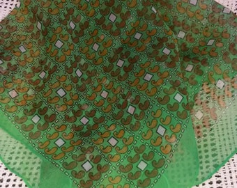 Vintage Ultra Sheer Hand Rolled Burmel Green Paisley Scarf