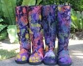 Womens Moccasin Boots In Colorful Indonesian Batik, Vegan - Viva