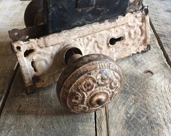 Reading Hardware Company Antique Cast Iron Door Knob Set Complete with Mortise Box and Door Knob Back Plates