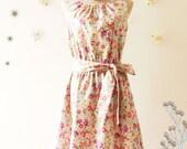 SALE -Darling Tea Dress: Floral Dress Coral Rose Blue Floral Sundress Floral Prom Dress Party Dress Floral Bridesmaid Dress- XS-XL
