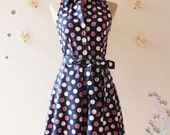Nautical Lady Navy Dress Retro Dress Summer Dress Vintage Bridesmaid Dress Shirt Vintage Inspired Sundress Party Dress -Size L