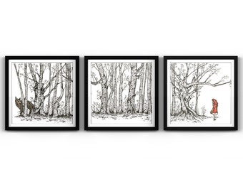 In the Woods Triptych Print, Limited Edition, Little Red Riding Hood, Big Bad Wolf