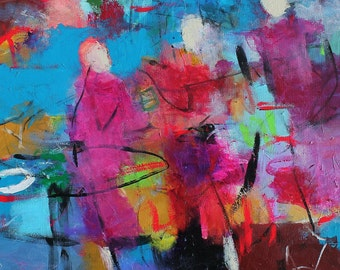 "Colorful Abstract Figure Painting, Blue, Modern Acrylic Painting on Canvas, ""Three Red Dresses Stepping Out"""