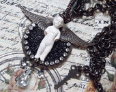 Sweet Little Angel Charlotte with Swarovski Rhinestone Chain, Rusty Black Brass, Vintage Swarovski Crystals and Micro Beads