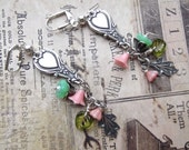 Fine Silver Plated Spoon Handle Earrings With Czech Bell Caps, Leaves and Vintage Lucite Flowers