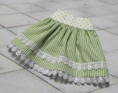 Lime Splice ~ Lime and White Skirt for SD, SD13 and similar sized BJD dolls
