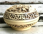 Vintage round trinket jewelry box, white, floral carved resin faux ivory cinnabar type