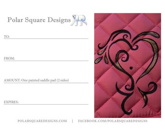 Gift Certificate for a Custom Painted 2-Sided Saddle Pad