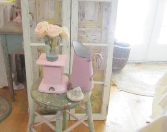 Pink painted scale farmhouse shabby chic prairie cottage