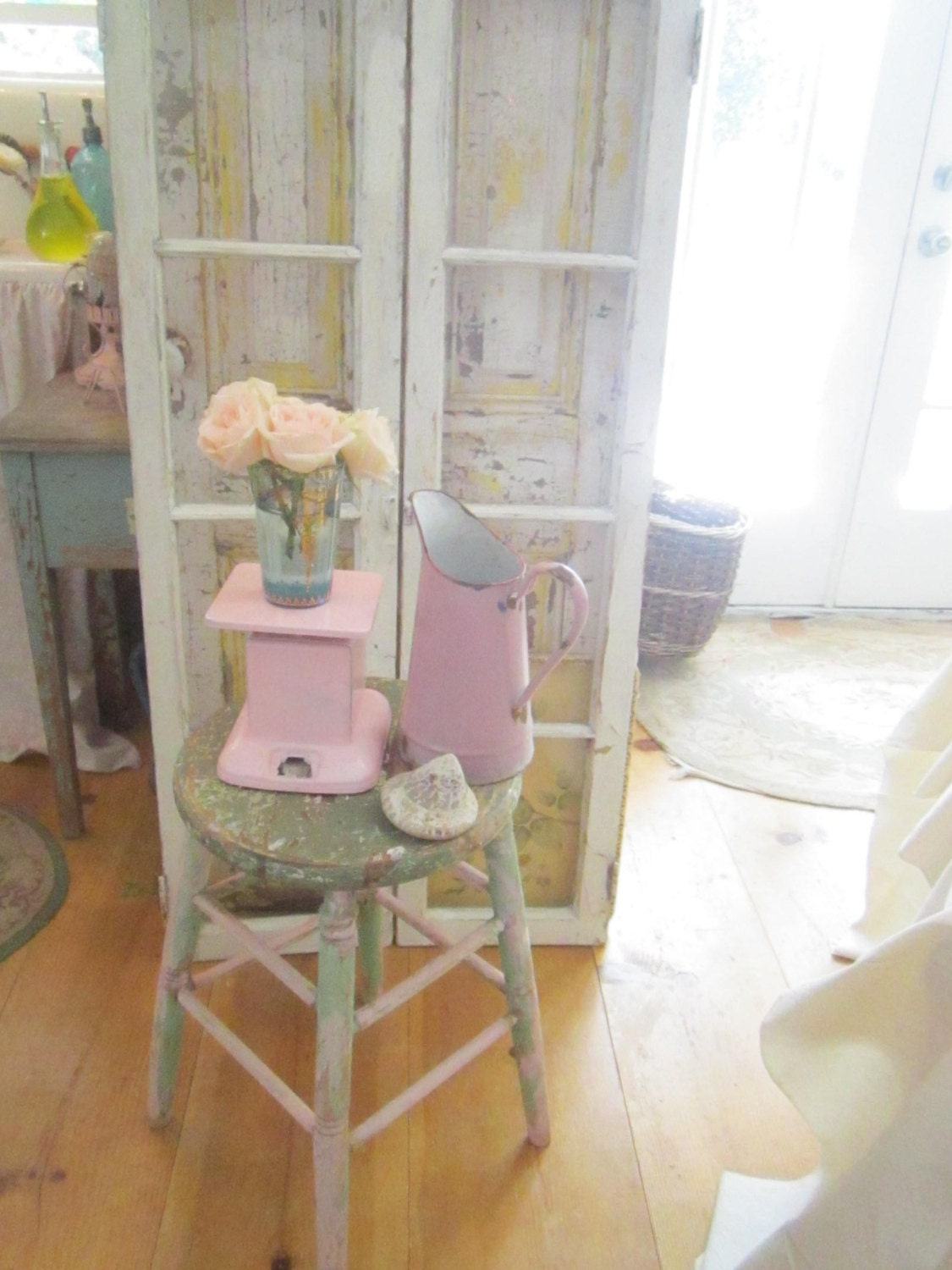 Pink painted scale farmhouse shabby chic prairie cottage for Shabby chic farmhouse
