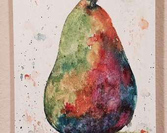 Pear Abstract  Watercolor  Painting Original Fine Art  Ready to Hang Kitchen Home Decor by ebsq Artist Ricky Martin FREE SHIPPING