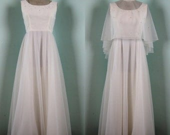 Vintage 1970s White Chiffon Dress 70s Gown with Rhinestones Size 6/8/M
