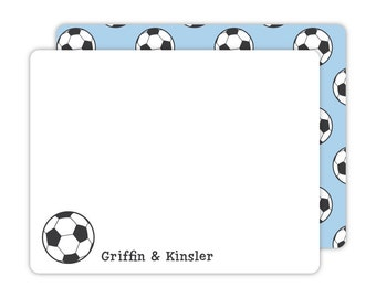Soccer Note Cards - Personalized Flat Note Cards - Soccer Flat Note Cards - Kids Stationery - Children Stationery - Sports Stationery