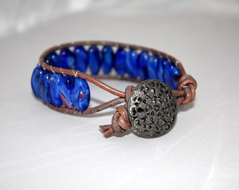 cobalt blue barrel wrap - beaded wrap - wrapped leather - leather beaded wrap - ships free - valentine jewelry - free shipping