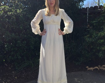 1970s SML/MED cream maxi folk WEDDING renaissance dress