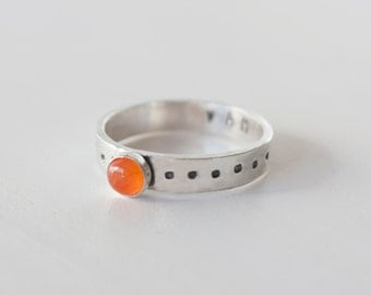 Sacral Chakra Ring, Sterling Silver Carnelian Stacking ring, Mantra ring, Carnelian ring, Sacral chakra, yoga ring, yoga jewelry,RTS CRS-SAC