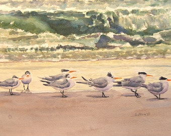 Original beach watercolor painting with 'Morning Terns'  Seashore Art
