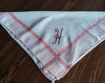 """Vintage Pink and Cranberry Hankie with Letter """"H"""""""