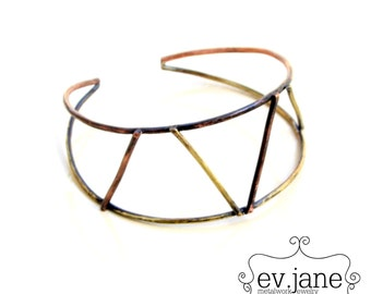 Triangles Wire Abstract Bracelet Cuff Mix Metal Brass Copper Oxidized Band Slim Bangle Boho Hippie Ethnic Open Adjustable