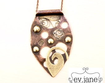 Leaf Tribal Filigree Pendant Necklace Brass Copper Hand Cut Oxidized Boho Hippie Bib Soldered