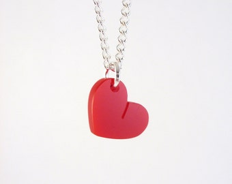 Cute perspex Red Heart necklace handmade by I Am Acrylic