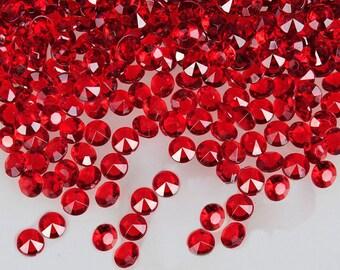 Red  Faux Diamonds - Plastic -Winter Wedding Confetti - Solitare Faux Diamonds - Table Decoration - Vase Filler