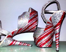 PEPPERMINT TWIST silver red candy cane swirl sexy Christmas crystal exotic pole dance stripper burlesque costume 6 inch Pleaser heels